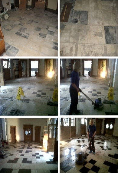 Professional stone floor cleaning